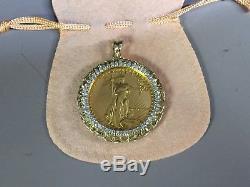 22k Fine Gold 1 Oz Lady Liberty Coin With 2.65 Tcw Diamonds-14k Frame Pendant