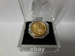 22k fine gold 1 1/10 oz liberty coin in 14k solid yellow & diamond ring