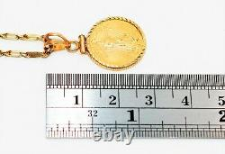 22kt American Eagle Gold Coin 14kt Yellow Gold Twist Rope Link Pendant Necklace