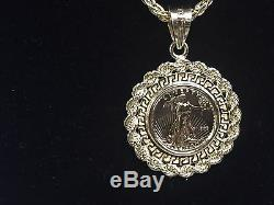 22kt Fine Gold 1/10 Oz Us Liberty Coin With 14kt Greek Key Rope Frame Pendant