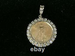 22kt Fine Gold 1/2 Oz Lady Liberty Coin With 2.9 Tcw Diamonds-14kt Frame Pendant