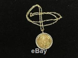22kt Fine Gold 1 Oz Lady Liberty Coin With 1.4 Tcw Diamonds-14kt Frame Pendant