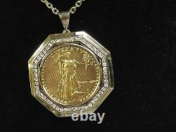 22kt Fine Gold 1 Oz Lady Liberty Coin With 2.1 Tcw Diamonds-14kt Frame Pendant