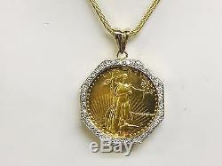 22kt Fine Gold 1 Oz Lady Liberty Coin With. 87 Tcw Diamonds-14kt Frame Pendant