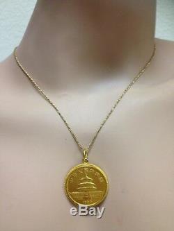 24K Fine Gold 1989 50 Yuan. 999 1/2 oz Au Panda Gold Coin Pendant