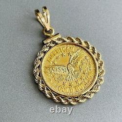 24K Fine Gold American Bullion 1/10 Oz & 14k Coin Bezel Rope Pendant Necklace