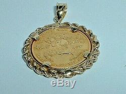 24k. 999 Fine Gold 1/10 Oz $5 Eagle Coin 14k Yellow Gold Frame Pendant Charm
