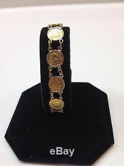 24k Fine Gold Custom Made Bracelet with Ten Panda Coins Replica