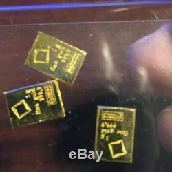 (3) 1 Gram Fine Gold Bar Assayed. 9999 Pure Fine Bullion Valcambi Suisse Swiss