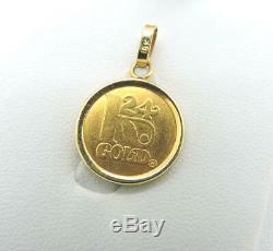 3 Gram 999.9 Fine Gold 24K Yellow Gold Coin Pendant Chain Paris France