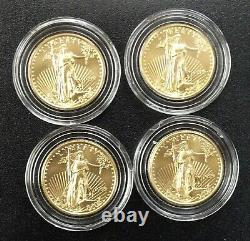 4 BU 1999 Gold American Eagles ¼ oz. Each-a Total of 1 ozt of FINE Gold Lot 102