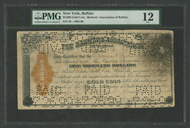 $5,000 Gold Coin Note Buffalo, Ny 1893 Pmg 12 Fine - Ext Rare - Wlm7736