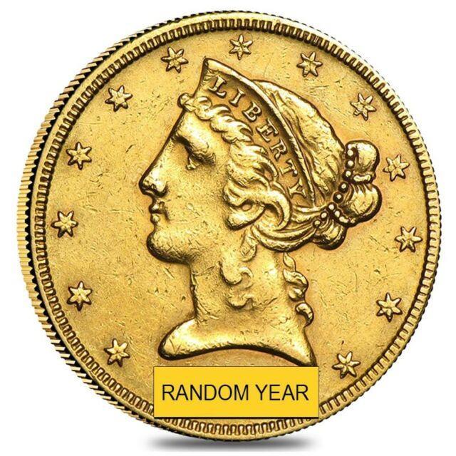 $5 Gold Half Eagle Liberty Head Very Fine Vf (random Year)