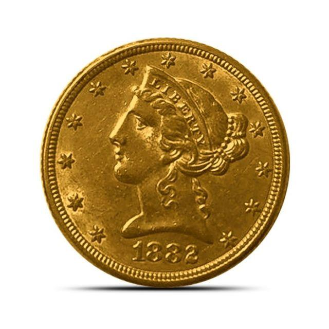 $5 Liberty Half Eagle Gold Coin Extremely Fine (xf) Random Dates/years