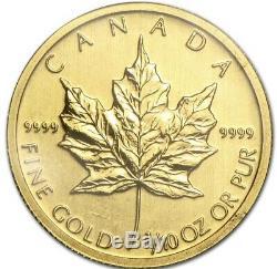 5 X Canada Maple Leaf 1/10 oz Gold Coins- $5.9999 Fine Random Date FREE SHIP