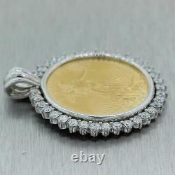 $50 Gold 1oz. American Eagle Coin 22k Yellow Gold 5.25ctw Diamond Pendant