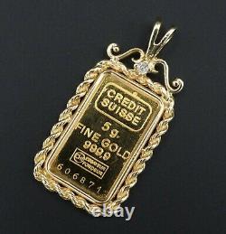 5g 999 24k Gold Bullion Framed Pendant Credit Suisse Fine Gold Bar M1314