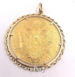 986 Fine Gold 1915 Austrian 4Ducat Coin in 18k Yellow Gold Bezel Pendant 19.3gr