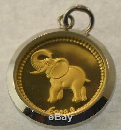 999.9 Fine Gold Good Luck Elephant Coin Pendant