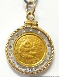 999 Fine Chinese Panda 24k Gold 2000 Coin Vintage 14k Diamond Bezel Pendant