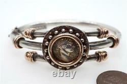 ANTIQUE SILVER & GOLD ANCIENT ROMAN COIN BANGLE / BRACELET c1890