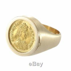 Ancient Roman Coin Ring Mens Gold Locket Antique West Empire AD 395-425 Solidus