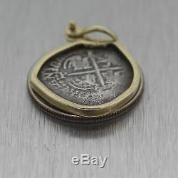 Ancient Spanish Reale 14k Yellow Gold Shipwreck Coin Pendant