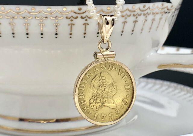 Antique 1759 Spain Half Escudo Ferdinand Vi Gold Coin Pendant