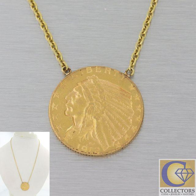Antique 1912 22k Solid $5 Five Dollar Indian Head Gold Coin Pendant Necklace F8