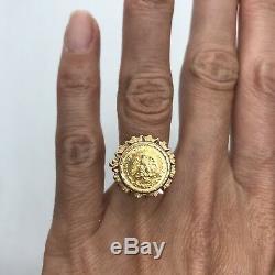 Antique 1945 vintage 18k yellow gold dos pesos Mexican coin bezel ring 5.5g 6