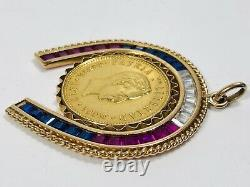 Antique Gypsy Fine Gold Coin in 18K Horseshoe Frame Synthetic Stones Pendant