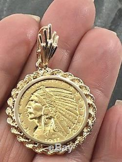 Antique Indian Head 1911 US $5 Coin Solid Yellow Gold Pendant, 13.1 grams