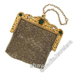 Antique Solid 18k Gold 1.95ct Emerald & Diamond Etched Foliate Mesh Coin Purse