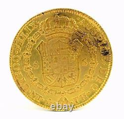 Antique Spanish Colony Mexico 8 Escudo Gold Coin 1808 Carlos IV 0.875 Fine 27g