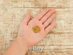 Antique Vintage Art Nouveau 18k Yellow Gold Louis Rault Coin Medal Pin Brooch