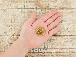 Antique Vintage Nouveau 10k Gold Diamond Pop Out Coin Lady Liberty Locket Brooch