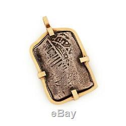 Antique Vintage Nouveau 14k Gold Sterling 925 Silver Spanish Reales Coin Pendant