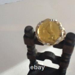 Antique gold coin ring