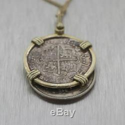 Authentic 14k Yellow Gold Spanish Reale Shipwreck Coin 24 Necklace