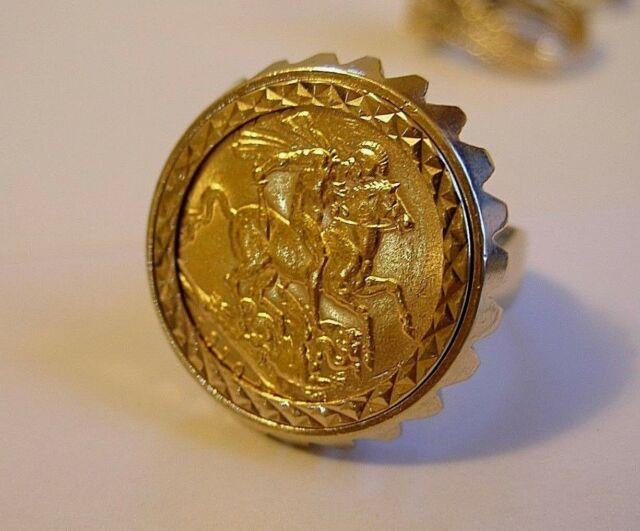 Authentic 1910 St George 22ct Gold Full Sovereign Ring 9ct Gold Mount Sz 10.75