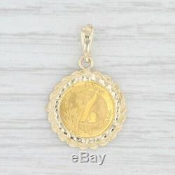 Authentic Chinese Panda Coin Pendant 10k & Fine Yellow Gold 1/20oz 1998 5 Yuan