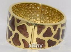 Authentic ROBERTO COIN 122.7g 18k Enamel Giraffe Pattern Bangle & Earrings Set