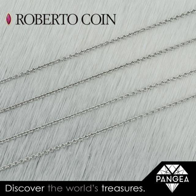 Authentic Roberto Coin 18k White Gold 16 Inch Rolo Chain Necklace 1.5 Grams