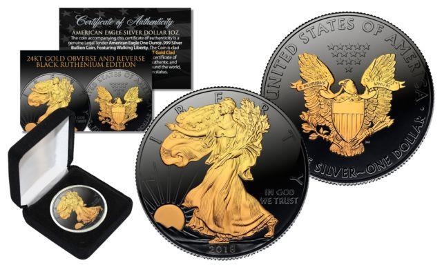 Black Ruthenium 1 Oz. 999 Fine Silver 2018 American Eagle Us Coin 24k Gold Clad