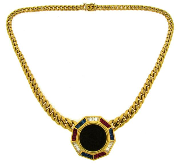 Bulgari Diamond Ruby Sapphire Yellow Gold Coin Pendant Necklace Signed 1970s