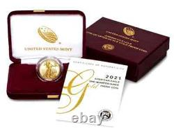 BUY HERE2021-W 1/4oz Fine Gold Proof Am Eagle Coin(T-1)+US Mint Pres. Cs+Extras