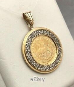 Bid Away 1980 1/4 Oz Krugerrand Fine Gold & 1.17ct Diamond Coin 18k Pendant