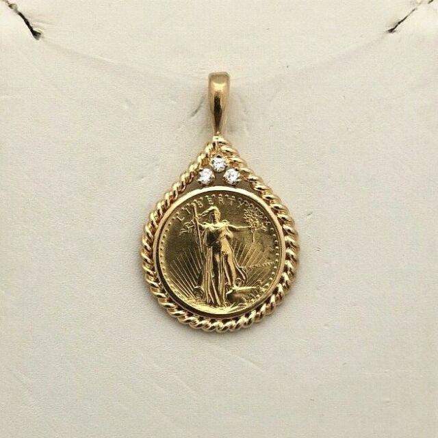 Bid Away 1986 1/10 Oz $5 Liberty Fine Gold &. 09ct Diamond Coin 14k Pendant