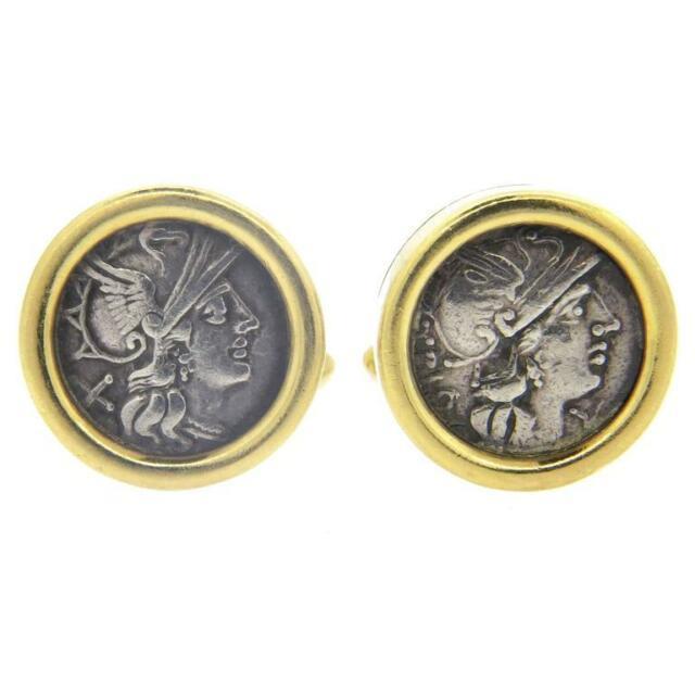 Bulgari Large Monete Ancient Coin 18k Gold Cufflinks