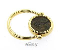 Bvlgari Bulgari Monete Ancient Coin 18k Yellow Gold Flip Ring Size 6.5